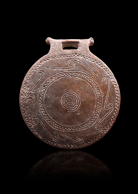 Cucladic Syros style decorated terra cotta frying pan . Early Cycladic Period II, (2800-2300 BC), Museum of Cycladic Art Athens,  cat no 971.   Against black