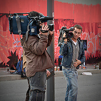 Television reporter in Milan