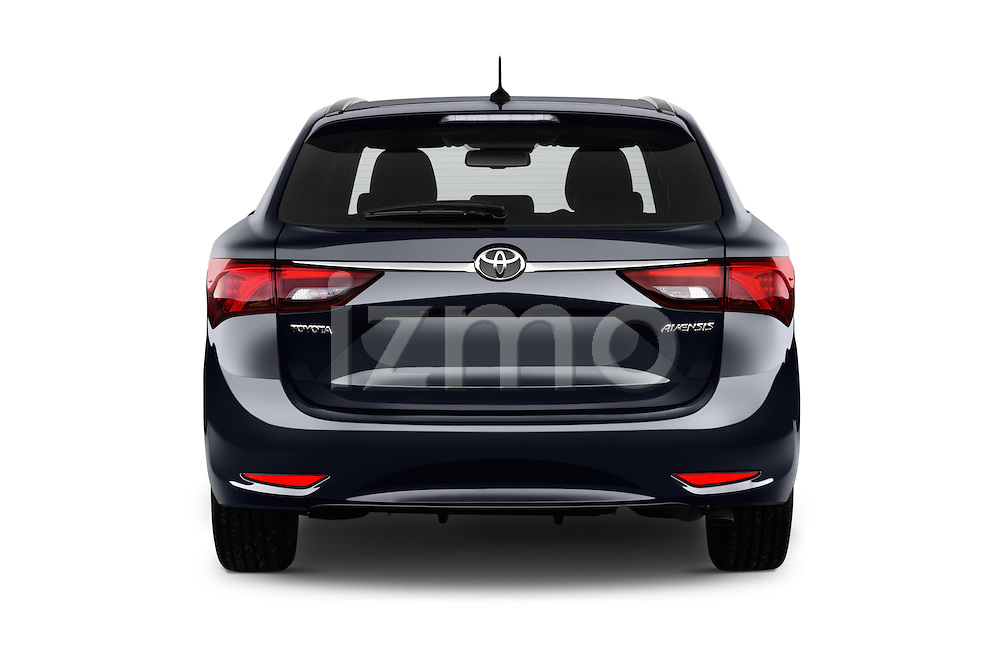 Straight rear view of 2015 Toyota Avensis Business Executive 5 Door Wagon Rear View  stock images