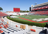 ATHENS, GA - SEPTEMBER 21: Grounds crews prepare Dooley Field, at Sanford Stadium prior to the clash between the University of Georgia Bulldogs and the Notre Dame Fighting Irish during a game between Notre Dame Fighting Irish and University of Georgia Bulldogs at Sanford Stadium on September 21, 2019 in Athens, Georgia.