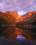 Sunrise reflection of Hallett Peak in Dream Lake, Rocky Mtn Nat'l Park, CO