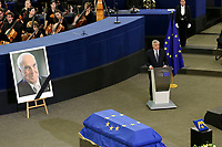 Antonio Tajani<br /> <br /> STRASBOURG, FRANCE - JULY 01: The coffin holding the remains of former German Chancellor Helmut Kohl draped by the European flag is carried to the memorial ceremony at the European Parliament on July 1, 2017 in Strasbourg, France. Kohl was chancellor of Germany for 16 years and led the country from the Cold War through to reunification. He died on June 16 at the age of 87<br /> Foto Elyxandro Cegarra / Panoramic / Insidefoto <br /> ITALY ONLY