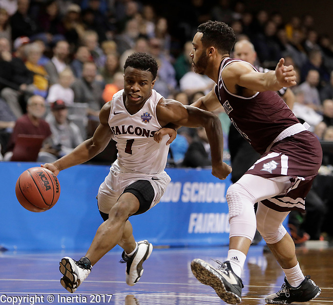 SIOUX FALLS, SD: MARCH 23: Jason Jolly #1 from Fairmont State tries to get a step past Tyler Jenkins #14 from Bellarmine during the Men's Division II Basketball Championship Tournament on March 23, 2017 at the Sanford Pentagon in Sioux Falls, SD. (Photo by Dick Carlson/Inertia)