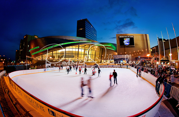 A Charlotte NC winter tradition, the annual WBT Holiday on Ice skating rink, moved to a new, larger location in 2011 outside the NASCAR Hall of Fame museum. The outdoor ice skating rink in the heart of uptown Charlotte is located at the corner of Martin Luther King MLK Blvd and Brevard.