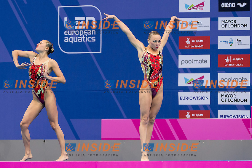 VOLOSHYNA Anna  ANANASOVA Lolita  UKR<br /> London, Queen Elizabeth II Olympic Park Pool <br /> LEN 2016 European Aquatics Elite Championships <br /> Duet Free final<br /> Day 03 11-05-2016<br /> Photo Giorgio Scala/Deepbluemedia/Insidefoto