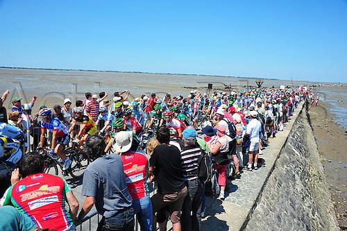 02.07.2011 Tour De France Stage 1 Passage du Gois to Mont des Alouettes. Quick Step 2011, Omega Pharma-Lotto 2011, Chavanel Sylvain, Gilbert Philippe, Passage du Gois