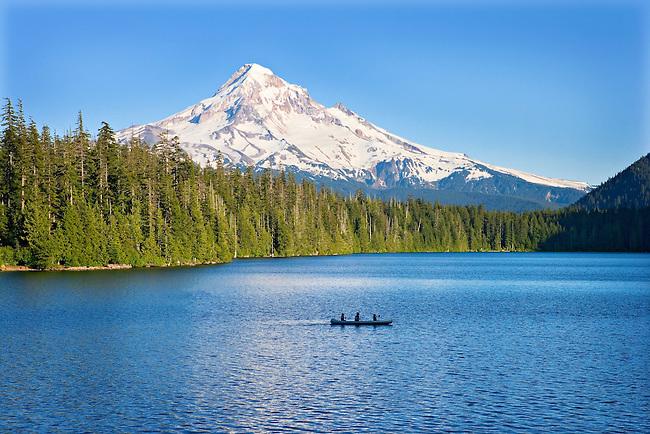 canoers on Lost Lake with Mt. Hood, Oregon