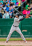 25 July 2017: Tri-City ValleyCats infielder J.J. Matijevic in action against the Vermont Lake Monsters at Centennial Field in Burlington, Vermont. The Lake Monsters defeated the ValleyCats 11-3 in NY Penn League action. Mandatory Credit: Ed Wolfstein Photo *** RAW (NEF) Image File Available ***