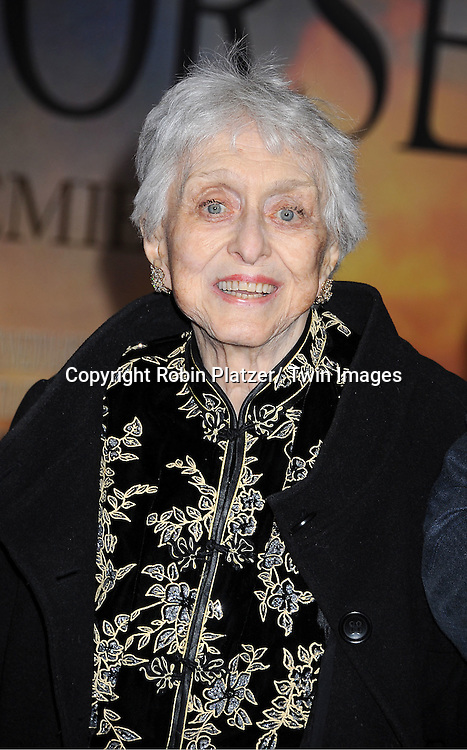 "Celeste Holm  attends the world premiere of ""War Horse"" on December 4, 2011 at Avery Fisher Hall in New York City."