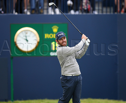 20th July 2017, Royal Birkdale Golf Club, Southport, England; The 146th Open Golf Championship ; First round ; Louis Oosthuizen (RSA) follows his shot from the tee of the    first hole during the first round of the Open Championship