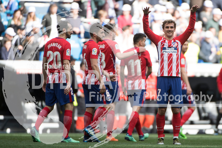 Atletico Madrid's French forward Antoine Griezmann after match<br /> Spanish league football match Real Madrid vs Atletico de Madrid at the Santiago Bernabeu stadium in Madrid on April 8, 2018.