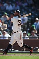 SAN FRANCISCO, CA - SEPTEMBER 12:  Brandon Crawford #35 of the San Francisco Giants bats against the Pittsburgh Pirates during the game at Oracle Park on Thursday, September 12, 2019 in San Francisco, California. (Photo by Brad Mangin)
