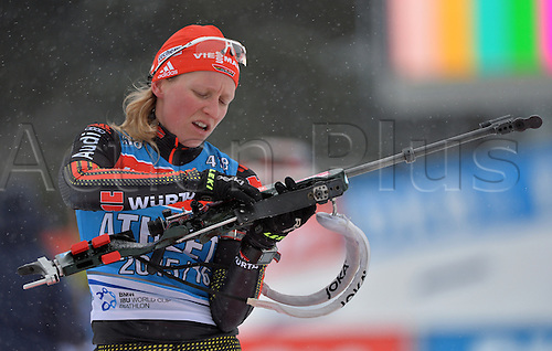 02.03.2016. Holmenkollen, Oslo, Norway.  Female Biathlete Franziska Hildebrand of Germany in action during a training session at the Biathlon World Championships, in the Holmenkollen Ski Arena, Oslo, Norway