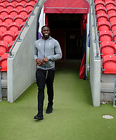 Lincoln City's John Akinde on arrival at Doncaster Rovers<br /> <br /> Photographer Andrew Vaughan/CameraSport<br /> <br /> EFL Leasing.com Trophy - Northern Section - Group H - Doncaster Rovers v Lincoln City - Tuesday 3rd September 2019 - Keepmoat Stadium - Doncaster<br />  <br /> World Copyright © 2018 CameraSport. All rights reserved. 43 Linden Ave. Countesthorpe. Leicester. England. LE8 5PG - Tel: +44 (0) 116 277 4147 - admin@camerasport.com - www.camerasport.com