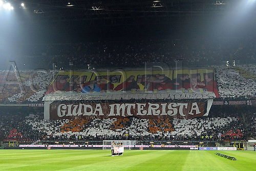 02 04 2011   Series A. AC Milan versus Inter Milan, Italy.  Photo shows the huge Inter Milan crowd at the game with banners
