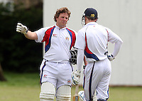 P Humphries of Hornchurch Athletic (left) gives some advice - Hornchurch Athletic CC vs Galleywood CC, Essex Club Cricket at Hylands Park, Hornchurch - 18/05/13 - MANDATORY CREDIT: Rob Newell/TGSPHOTO - Self billing applies where appropriate - 0845 094 6026 - contact@tgsphoto.co.uk - NO UNPAID USE