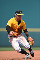 Bradenton Marauders third baseman Wyatt Mathisen (15) during a game against the St. Lucie Mets on April 12, 2015 at McKechnie Field in Bradenton, Florida.  Bradenton defeated St. Lucie 7-5.  (Mike Janes/Four Seam Images)