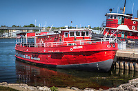 """Fire Boat """"Fred A. Busse"""" loacted in Sturgeon Bay Wisconsin.  Originally designed as a City of Chicago Fireboat, the """"Fred A. Busse"""" was built in Bay City, Michigan in 1937.  It served the Chicago Fire Department for many years and now houses a small museum dedicated to Chicago's firefighting efforts."""