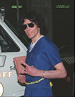 "Sep 20, 1989 - Los Angeles, California, USA - Richard Ramirez, also known as the ""Night Stalker"" serial killer, jestures to a photographer after hearing the verdict in his trial in this photo taken Sept. 20, 1989. Ramirez, presently serving time on San Quentin's Death Row in Northern California, is scheduled to get married Thursday, Oct. 3, 1996, to a woman relatives say has had an unusual fascination with the killer since he was arrested for torturing, sexually abusing and murdering 13 people in Southern California..(Credit Image: © Alan Greth)"