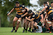 Lester Sefo, Shaun Muir and Haamiora Clarke lead the Bombay maul upfield. Counties Manukau Club Rugby game between Manurewa and Bombay played at Mountfort Park Manurewa on Saturday June 2nd 2018. Bombay won the game 27 - 20 after leading 20 - 5 at halftime. <br /> Manurewa Kidd Contracting 20 - Caleb Fa'alili, William Raea, Willie Tuala, Viliami Taulani tries.<br /> Bombay 27 - Liam Daniela, Sepuloni Taufa, Talaga Alofipo tries, Ki Anufe 3 conversions, Ki Anufe 2 penalties.<br /> Photo by Richard Spranger.