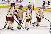 Andie Anastos (BC - 23), Taylor Wasylk (BC - 9), Haley McLean (BC - 13), Meagan Mangene (BC - 24), Haley Skarupa (BC - 22) - The Boston College Eagles defeated the visiting University of Maine Black Bears 5 to 1 on Sunday, October 6, 2013, in their Hockey East season opener at Kelley Rink in Conte Forum in Chestnut Hill, Massachusetts.