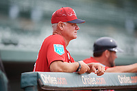Boston Red Sox Bob Kipper in the dugout during a Florida Instructional League game against the Baltimore Orioles on October 8, 2018 at the Ed Smith Stadium in Sarasota, Florida.  (Mike Janes/Four Seam Images)