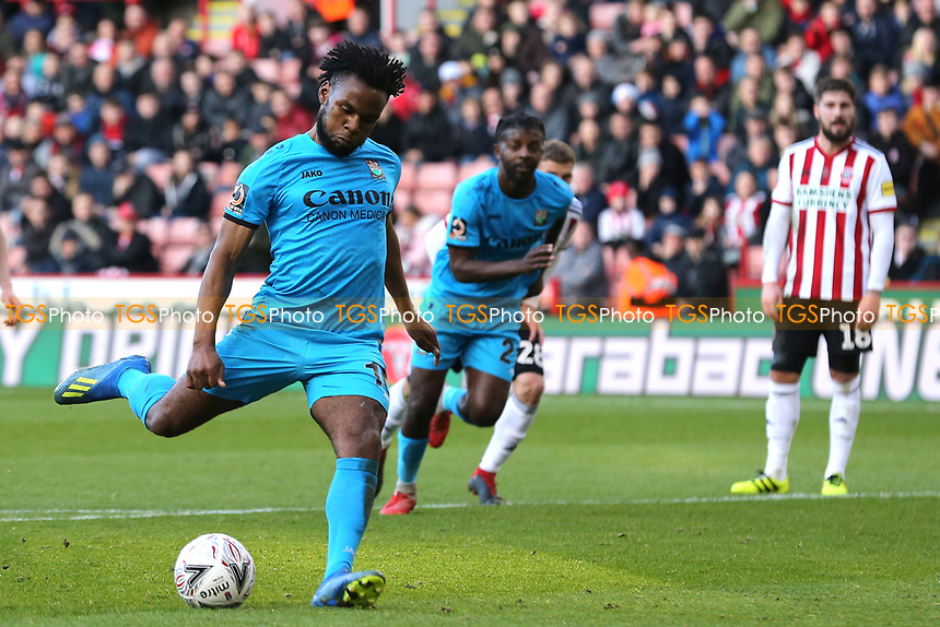 Shaquile Coulthirst of Barnet scores the first goal during Sheffield United vs Barnet, Emirates FA Cup Football at Bramall Lane on 6th January 2019