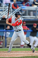 Lowell Spinners first baseman Sam Travis (40) at bat during a game against the Batavia Muckdogs on July 16, 2014 at Dwyer Stadium in Batavia, New York.  Lowell defeated Batavia 6-4.  (Mike Janes/Four Seam Images)