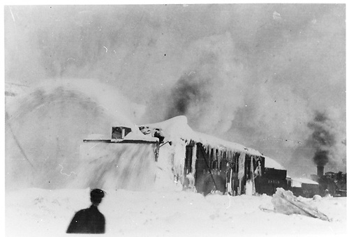 Rotary snowplow working in heavy snow.<br /> D&amp;RGW