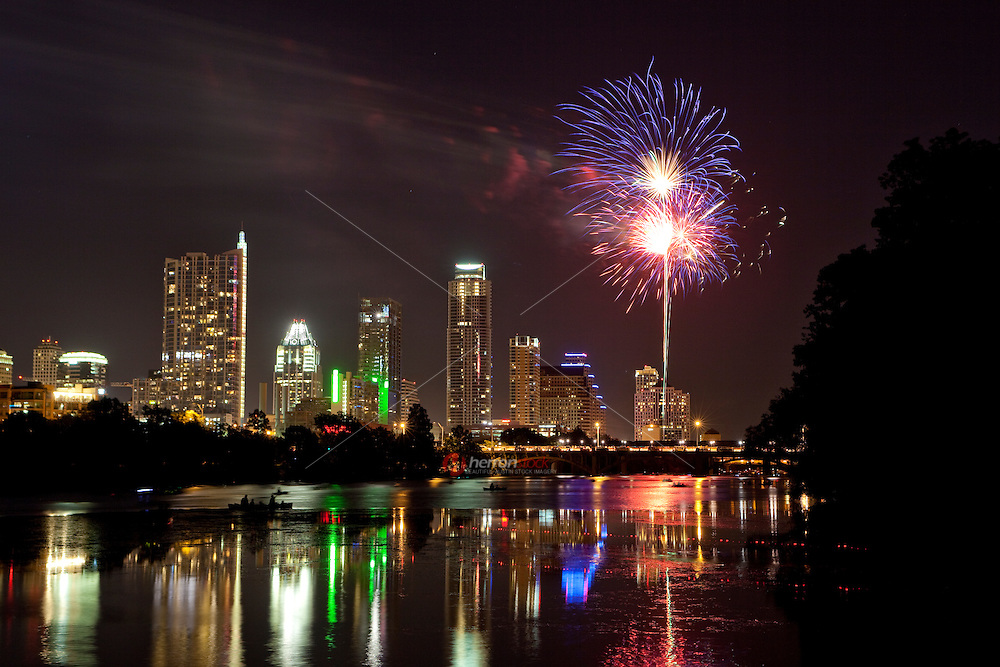Fireworks on the 4th of July over the Downtown Austin Skyline, Austin, Texas