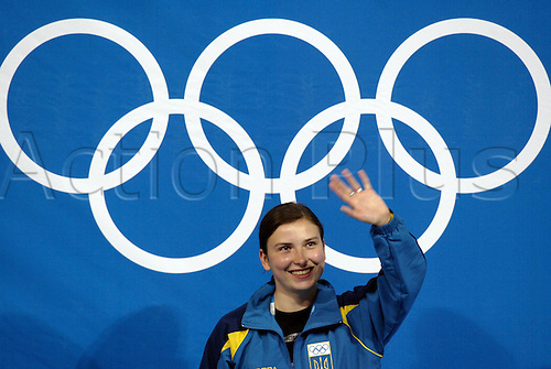 15 August 2004: Ukrainian shooter Olena Kostevych (UKR) celebrates her Gold medal victory in the Women's 10m Air Pistol Final, Markopoulo Olympic shooting centre, 2004 Olympic Games, Athens, Greece. Photo: Glyn Kirk/Action Plus....040815 olympics shooting .women womens woman ladies..