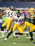 Pittsburgh Steelers wide receiver Antonio Brown (84) returns a kick during Super Bowl XLV against the Green Bay Packers on Sunday, February 6, 2011, in Arlingto, Texaas. The Packers won 31-25. (AP Photo/David Stluka)