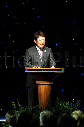 "Naomichi Ozaki (JPN), MAY 9th, 2011 - Golf : PGA Hall of Fame golfer Japan's Masashi ""Jumbo"" Ozaki' brother Naomichi ""Joe"" Ozaki speaches instead of his brother during the 2011 World Golf Hall of Fame Induction Ceremony in St Augustine, Florida. Masashi ""Jumbo"" Ozaki of Japan is inducted into the World Golf Hall of Fame."