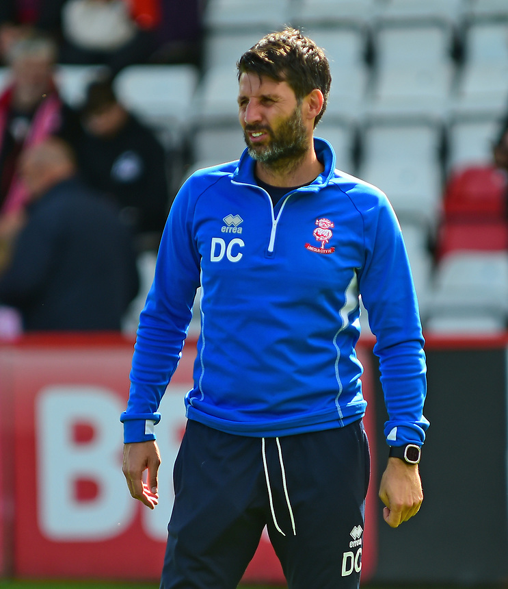 Lincoln City manager Danny Cowley during the pre-match warm-up<br /> <br /> Photographer Andrew Vaughan/CameraSport<br /> <br /> The EFL Sky Bet League Two - Stevenage v Lincoln City - Saturday 9th September 2017 - The Lamex Stadium - Stevenage<br /> <br /> World Copyright &copy; 2017 CameraSport. All rights reserved. 43 Linden Ave. Countesthorpe. Leicester. England. LE8 5PG - Tel: +44 (0) 116 277 4147 - admin@camerasport.com - www.camerasport.com