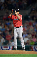 Pawtucket Red Sox relief pitcher Fernando Rodriguez Jr. (29) gets ready to deliver a pitch during a game against the Rochester Red Wings on July 4, 2018 at Frontier Field in Rochester, New York.  Pawtucket defeated Rochester 6-5.  (Mike Janes/Four Seam Images)