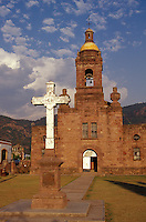 The 17th century San Francisco Javier Jesuit church in the village of Cerocahui in the Copper Canyon region, Chihuahua, Mexico