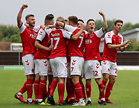 Fleetwood Town's Paddy Madden is mobbed after scoring his side's second goal <br /> <br /> Photographer David Shipman/CameraSport<br /> <br /> The EFL Sky Bet League One - Oxford United v Fleetwood Town - Saturday August 11th 2018 - Kassam Stadium - Oxford<br /> <br /> World Copyright &copy; 2018 CameraSport. All rights reserved. 43 Linden Ave. Countesthorpe. Leicester. England. LE8 5PG - Tel: +44 (0) 116 277 4147 - admin@camerasport.com - www.camerasport.com