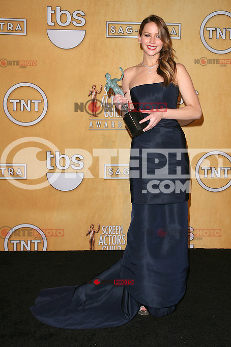 LOS ANGELES, CA - JANUARY 27: Jennifer Lawrence in the press room at The 19th Annual Screen Actors Guild Awards at the Los Angeles Shrine Exposition Center in Los Angeles, California. January 27, 2013. Credit: mpi27/MediaPunch Inc. /NortePhoto /NortePhoto
