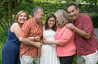 From left, parents Kookie and Arturo with graduate Evita Chavez and aunt and godparent Kristan Sanchez and uncle and godparent John Sanchez. Graduating seniors and their families and friends attend Brunch with President Jonathan Veitch at Collins House, May 16, 2015. (Photo by Marc Campos, Occidental College Photographer)