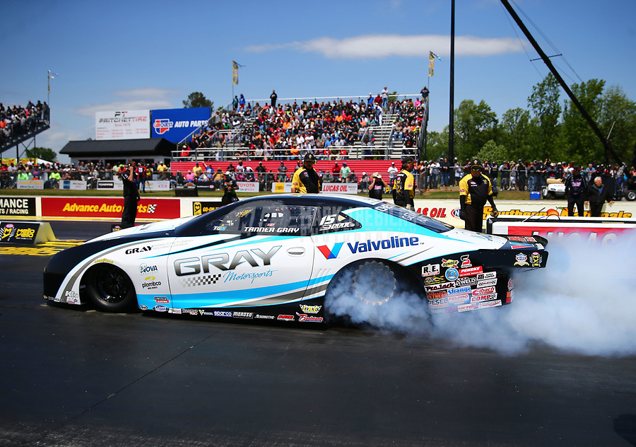 May 6, 2017; Commerce, GA, USA; NHRA pro stock driver Tanner Gray during qualifying for the Southern Nationals at Atlanta Dragway. Mandatory Credit: Mark J. Rebilas-USA TODAY Sports