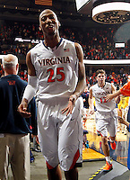 Virginia forward Akil Mitchell (25) reacts during the game against NC State Saturday in Charlottesville, VA. Virginia defeated NC State 58-55.