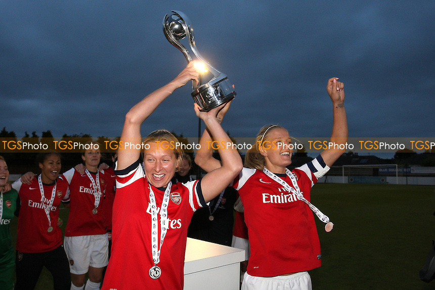 Jayne Ludlow (L) and Katie Chapman of Arsenal lift the FAWSL Championship trophy - Arsenal Ladies vs Doncaster Rovers Belles - FA Womens Super League Football at Boreham Wood FC - 30/09/12 - MANDATORY CREDIT: Gavin Ellis/TGSPHOTO - Self billing applies where appropriate - 0845 094 6026 - contact@tgsphoto.co.uk - NO UNPAID USE.