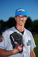 Hudson Valley Renegades pitcher Porter Clayton (19) poses for a photo before a game against the Batavia Muckdogs on August 1, 2016 at Dwyer Stadium in Batavia, New York.  Hudson Valley defeated Batavia 5-1.  (Mike Janes/Four Seam Images)
