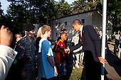 Landstuhl, Germany - June 5, 2009 -- United States President Barack Obama stops to shake hands with people outside Landstuhl Regional Medical Center in Germany, Friday, June 5, 2009..Mandatory Credit: Pete Souza - White House via CNP