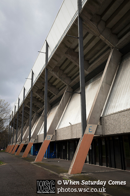 Edinburgh City v Spartans, 11/04/2015. Commonwealth Stadium, Scottish Lowland League. An exterior view of the Commonwealth Stadium at Meadowbank before the Scottish Lowland League match between Edinburgh City and city rivals Spartans, which was won by the hosts by 2-0. Edinburgh City were the 2014-15 league champions and progressed to a play-off to decide whether there would be a club promoted to the Scottish League for the first time in its history. The Commonwealth Stadium hosted Scottish League matches between 1974-95 when Meadowbank Thistle played there. Photo by Colin McPherson.
