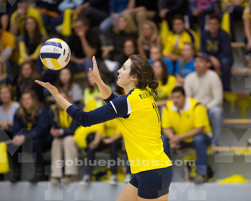 The University of Michigan women's volleyball team lost to No. 1 Penn State, 3-2, at Cliff Keen Arena in Ann Arbor, Mich., on October 20, 2012.