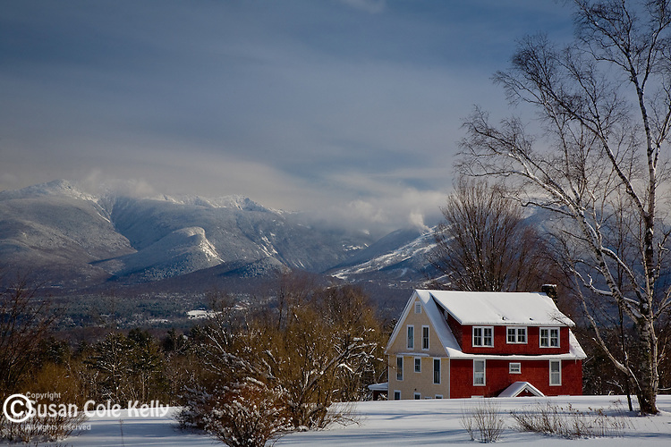 A house with a view of Mt LaFayette in Sugar Hill, White Mountain region, NH, USA