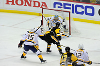 May 31, 2017: Nashville Predators goalie Pekka Rinne (35) makes a blocker save during game two of the National Hockey League Stanley Cup Finals between the Nashville Predators  and the Pittsburgh Penguins, held at PPG Paints Arena, in Pittsburgh, PA. The Penguins defeat the Predators 4-1 and lead the series 2-0. Eric Canha/CSM