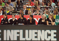 16.09.2012 Silver Ferns bench in action during the first netball test match between the Silver Ferns and the Australian Diamonds played at the Hisense Arena In Melbourne. Mandatory Photo Credit ©Michael Bradley.