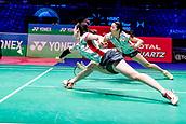 17th March 2018, Arena Birmingham, Birmingham, England; Yonex All England Open Badminton Championships; Mayu Matsumoto (JPN) and Wakana Nagahara (JPN) in their semi-final match against Kamilla Rytter Juhl (DEN) and Christinna Pedersen (DEN)